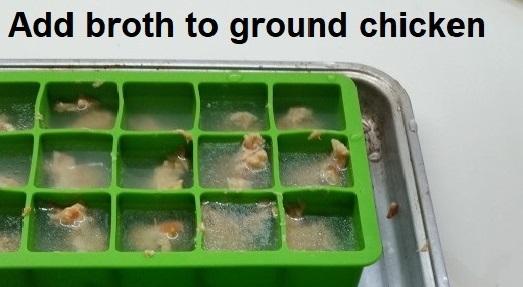 Add broth to ground chicken